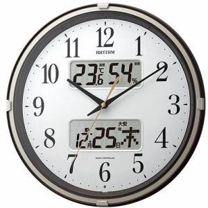 リズム時計 4FYA07SR06 掛時計 フィットウェーブリブ 茶メタリック色