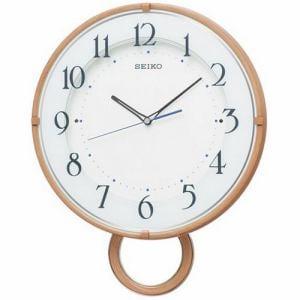 セイコークロック PH206A スタンダード 電波クロック ステップセコンド おやすみ秒針 ウッドカラー 振り子付掛け電波時計
