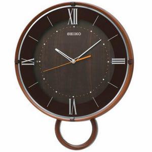 セイコークロック PH206B スタンダード 電波クロック ステップセコンド おやすみ秒針 ウッドカラー 振り子付掛け電波時計