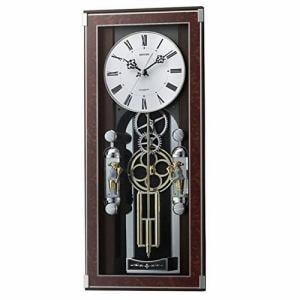 リズム時計 4MN535SR23 からくり時計 カラクリトケイ 木目仕上