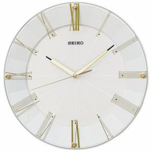 セイコークロック KX214H スタンダード 白パール塗装(光沢仕上) インテリアデザイン スイープセコンド 電波掛時計