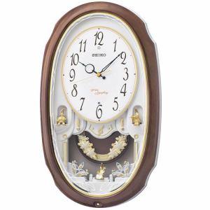 セイコークロック AM260A アミューズ時計 正時16曲メロディ 時報モニター スイープセコンド 飾り振り子付電波クロック