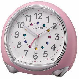 リズム時計 8RE653SR13 RHYTHM 目覚し時計 連続秒針 ピンク(白) 電子音アラーム