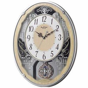 リズム時計 4MN538RH23 RHYTHM スモールワールドクラッセ 電波掛時計 木目仕上(白) ステップ秒針