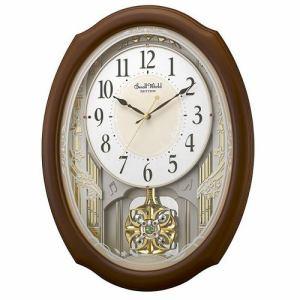 リズム時計 4MN541RH06 RHYTHM スモールワールドセレブレ 電波掛け時計(アミュージング) 茶色半艶仕上 ステップ秒針