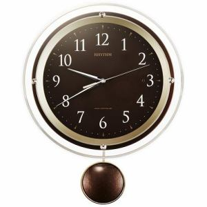 リズム時計 8MX404SR06 RHYTHM ソフレール 電波掛時計 茶色 電波受信OFF機能 振り子付