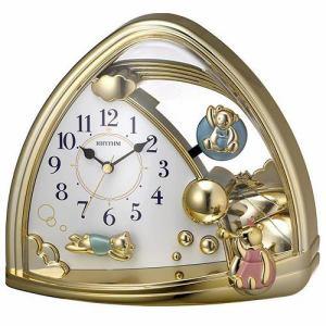 リズム時計 4SG762SR18 RHYTHM ファンタジーランド762SR 金色仕上(白)クオーツ置時計 飾り振子付