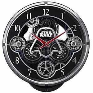 リズム時計 4MN533MC02 からくり時計 KARAKURI CLOCK/ 黒メタリック色