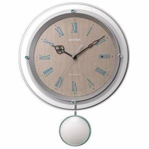 リズム時計 8MX404SR03 RHYTHM ソフレール 電波掛時計 白(薄茶木目) 電波OFF機能 飾り振子付