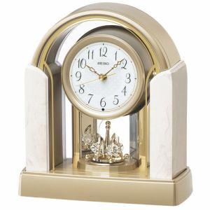 セイコークロック BY236G 置時計 スタンダード アイボリーマーブル模様(光沢仕上) 回転飾り付