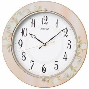 セイコークロック KX220P スタンダード 電波掛時計 木枠(花柄) スイープセコンド おやすみ秒針