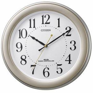 リズム時計 8MY509-018 CITIZEN 電波掛時計 ゴールドメタリック色(白) 連続秒針