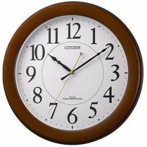 リズム時計 8MY514-006 CITIZEN 電波掛け時計 茶色半艶仕上(白) 連続秒針 ベーシックモデル