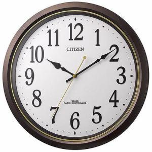 リズム時計 8MY517-006 CITIZEN 電波掛け時計 茶メタリック色(白) 連続秒針機能付