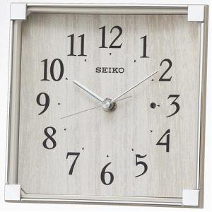 セイコークロック BZ237A 電波置時計 スタンダード スイープセコンド 木目柄 プラスチック枠(薄グレー)