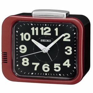 セイコークロック KR896R 目覚し時計 プラスチック枠(赤メタリック塗装) ルミブライト(時・分針) スイープセコンド