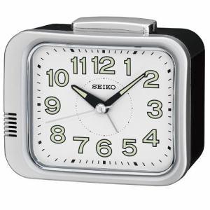 セイコークロック KR896S 目覚し時計 プラスチック枠(銀色メタリック塗装) ルミブライト(時・分針) スイープセコンド