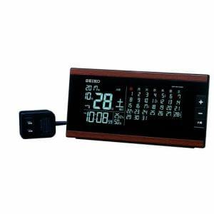 セイコークロック DL212B 電波目覚まし時計 SEIKO  茶木目模様