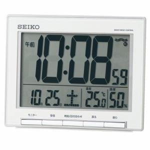 セイコークロック SQ786S 電波目覚まし時計 SEIKO  銀色メタリック塗装