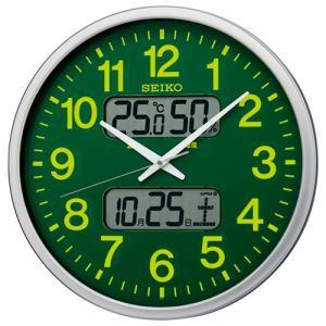 セイコークロック KX237H 電波掛時計 カレンダー、温度・湿度表示付 サイズ大きめ