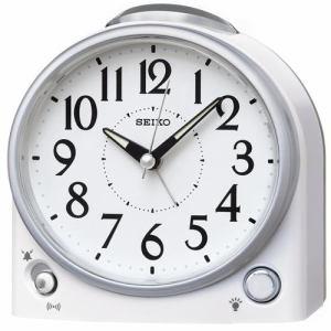 セイコークロック KR502W 目覚まし時計 白パール塗装 電子音アラーム(音量調節付) スイープセコンド