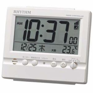 リズム時計 8RZ201SR03 RHYTHM 電波デジタル時計 ホワイト カレンダー表示付