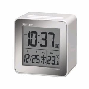 リズム時計 8RZ158SR03 RHYTHM 電波目覚まし時計 フィットウェーブD158 カレンダー・温度表示付