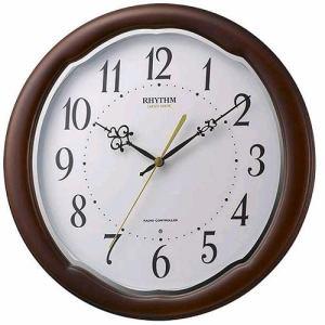 リズム時計 8MY513SR06 RHYTHM 電波掛時計 フットウェーブアヤW 茶色半艶仕上