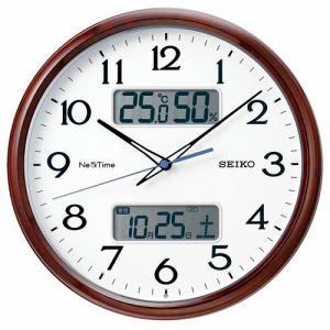 セイコークロック ZS252B ハイブリッド電波掛時計 ネクスタイム  茶木目模様光沢仕上