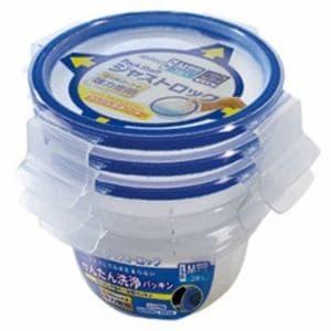 エビス 保存容器 パックスタッフ ジャストロック 丸型 M (3個入) ブルー 1個