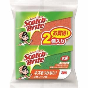 スリーエムジャパン SS-72K 2PM スコッチブライト 抗菌ウレタンスポンジたわし(リーフ型/3層)(2個入り)