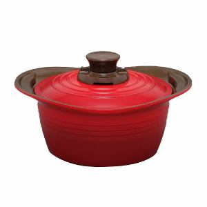 アイリスオーヤマ KITCHEN CHEF(キッチンシェフ) 無加水鍋 20cm IH対応 レッド
