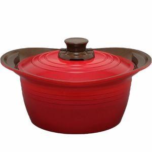 アイリスオーヤマ KITCHEN CHEF(キッチンシェフ) 無加水鍋 24cm 深型 IH対応 レッド