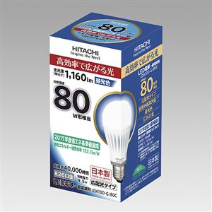 日立 LED電球 (一般電球形・E26口金・広配光タイプ) 昼光色 LDA10D-G/80C