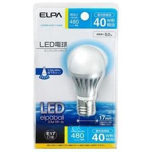ELPA LED電球 ミニクリプトン球型 全光束480lm E17 昼光色 LDA5D-H-E17-G408