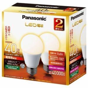 パナソニック 調光器非対応LED電球 (一般電球形・全光束485lm/電球色相当・口金E26/2個入) LDA5L-G/K40E/S/W/2T