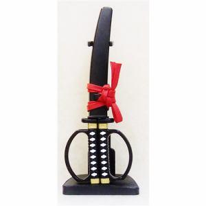ニッケン刃物 SW-28B 日本刀ハサミ 黒 掛け台付き 関伝の美