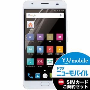 ヤマダ電機オリジナルモデル EP-171PW/G Android搭載SIMフリースマートフォン EveryPhone PW ゴールド&Y.U-mobile ヤマダニューモバイルSIMカード(契約者向け)セット