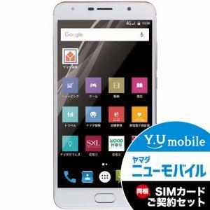 ヤマダ電機オリジナルモデル EP-171HG/G デュアルカメラ、低電力CPUスマホ SIMフリースマートフォン EveryPhone HG ゴールド&Y.U-mobile ヤマダニューモバイルSIMカード(契約者向け)セット
