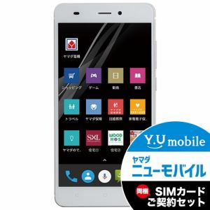ヤマダ電機オリジナル EP-172BZ/G Android搭載SIMフリースマートフォン EveryPhone BZ  ゴールド&Y.U-mobile ヤマダニューモバイルSIMカード(契約者向け)セット