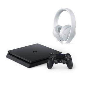 【お買い得セット】PS4ジェットブラック500GB CUH-2200AB01+ワイヤレスサラウンドヘッドセットホワイトCUHJ-15007J2