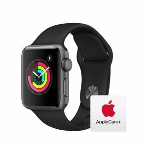 【アップルケアセット】Apple MTF02J/A Apple Watch Series 3(GPSモデル)- 38mmスペースグレイアルミニウムケースとブラックスポーツバンド AppleWatch3GPSOnly + アップルケアセット