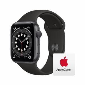 【アップルケアセット】アップル(Apple) M00H3J/A Apple Watch Series 6(GPSモデル)- 44mmスペースグレイアルミニウムケースとブラックスポーツバンド