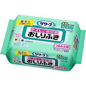 花王(Kao) リリーフ トイレに流せるおしりふき つめかえ用 24枚 (ミシン目入48カット) 【衛生用品】