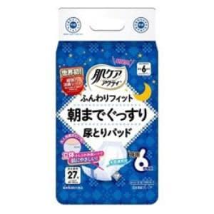 日本製紙クレシア 肌ケアアクティ ふんわりフィット 朝までぐっすり尿とりパッド 夜用 男女兼用 6回吸収 27枚入