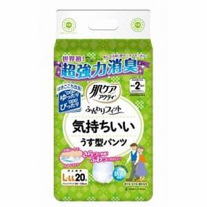 日本製紙クレシア 肌ケアアクティ ふんわりフィット 気持ちいいうす型パンツ 男女兼用 L-LL 2回吸収 20枚入