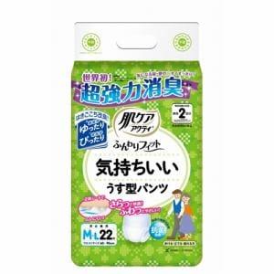 日本製紙クレシア 肌ケアアクティ ふんわりフィット 気持ちいいうす型パンツ 男女兼用 M-L 2回吸収 22枚入