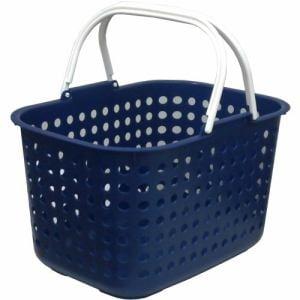 [幅44.0×奥行31.5×高さ26.5cm] ドットバスケット浅型  ブルー かわいい