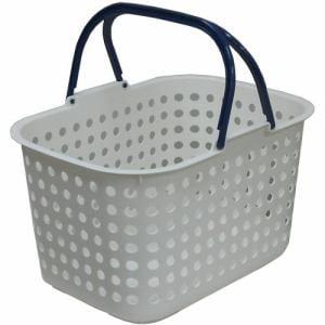 ドットバスケット浅型  ホワイト 幅44.0×奥行31.5×高さ26.5cm
