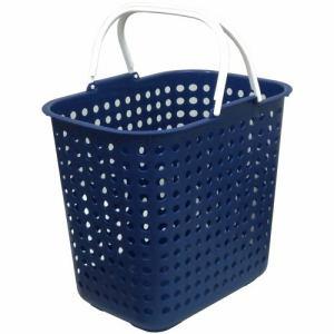 ドットバスケット浅型  ブルー 幅44.0×奥行31.5×高さ39.2cm
